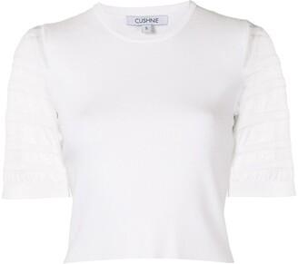 Cushnie Sheer-Striped Sleeve Top