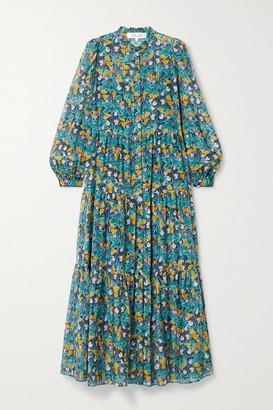 Diane von Furstenberg Nea Tiered Floral-print Cotton And Silk-blend Midi Dress - Green