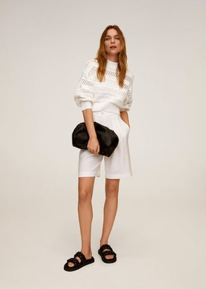 MANGO Openwork knit sweater off white - S - Women