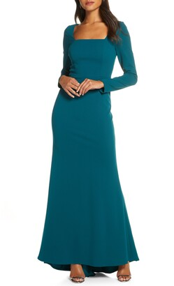 Eliza J Square Neck Long Sleeve Mermaid Gown
