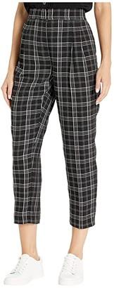 Vince Camuto Slim Leg Front Pleat Even Plaid Pants (Rich Black) Women's Casual Pants