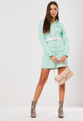 Missguided Green Denim Button Through Fitted Dress