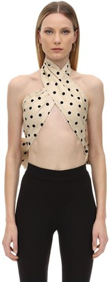 MARIANNA SENCHINA Polka Dot Crepe Top W/ Back Bow