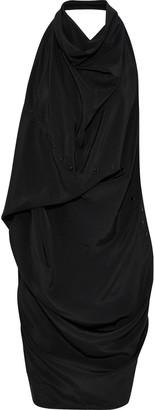 Rick Owens Ellipse Draped Studded Silk Crepe De Chine Halterneck Tunic