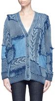 Stella McCartney Denim patch mixed knit cardigan