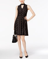 NY Collection Mock-Neck Eyelet Fit & Flare Dress
