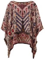 Etro Reversible Abstract-print Silk-georgette Poncho - Womens - Red Multi