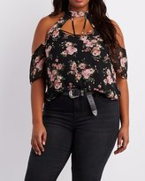 Charlotte Russe Plus Size Floral Caged Cold Shoulder Top
