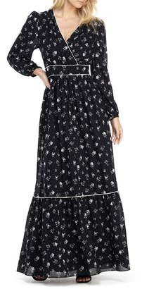Gal Meets Glam Ariana Floral Long Sleeve Chiffon Maxi Dress