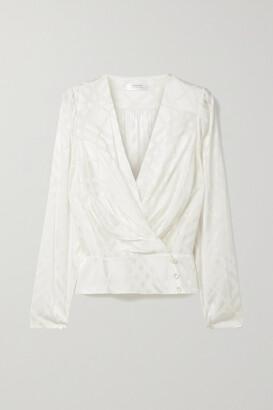 Anine Bing - + Helena Christensen June Silk-blend Satin-jacquard Wrap Top - Ivory