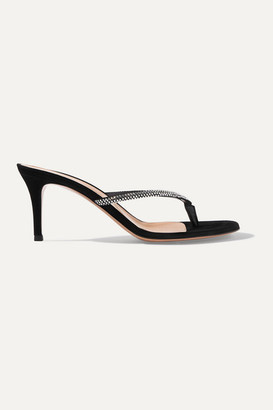 Gianvito Rossi Calypso 70 Crystal-embellished Suede Sandals - Black