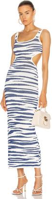 Dundas Sleeveless Maxi Dress in Off White & Blue   FWRD