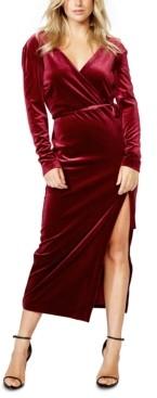 Bardot Velvet Slit Wrap Dress