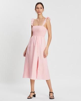 Aere Square Neck Split Linen Dress