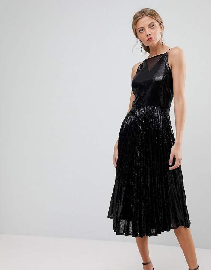 Coast Viviana Pleated Sequin Dress