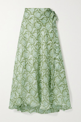 HANNAH ARTWEAR Net Sustain Maya Printed Silk Wrap Maxi Skirt - Green