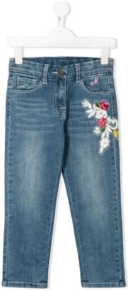 MonnaLisa Floral Applique Straight Leg Jeans