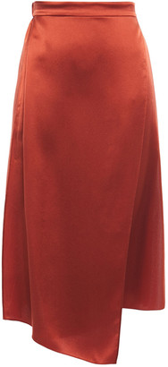 Vince Wrap-effect Silk-satin Midi Skirt