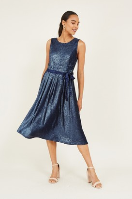 Yumi Navy Sequin Tie Velvet Skater Dress