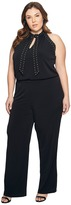 MICHAEL Michael Kors Plus Size Solid Stud Tie Jumpsuit Women's Jumpsuit & Rompers One Piece