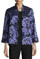 Caroline Rose Flower Show Boxy Jacket, Blue/Purple, Plus Size