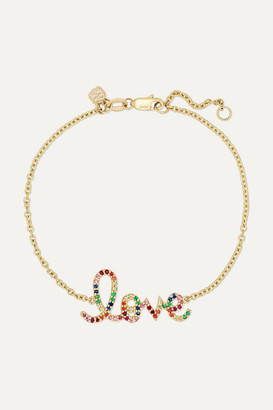 Sydney Evan Medium Love 14-karat Gold Multi-stone Bracelet
