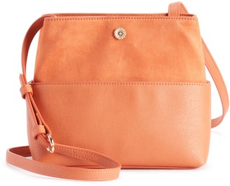 Lauren Conrad Small Crossbody Drawstring Bucket Bag - Mecca Orange