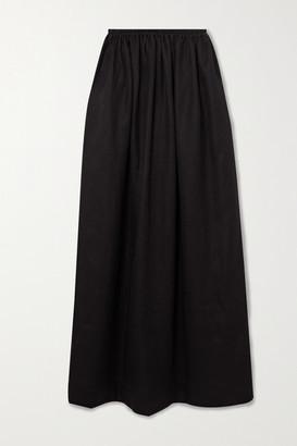 Matteau Pleated Linen And Cotton-blend Maxi Skirt - Black