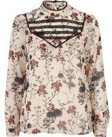 River Island Womens Cream print bib blouse