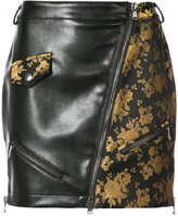 Moschino faux leather and jacquard mini skirt