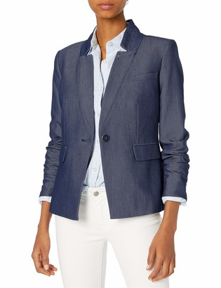 Tommy Hilfiger Women's Denim One Button Jacket with Iconic Lining 6