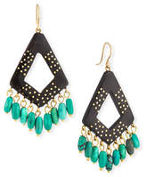 Ashley Pittman Mashua Dark Horn Dangle Earrings w/ Turquoise