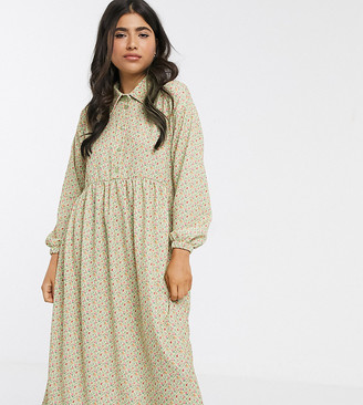 ASOS DESIGN Petite long sleeve smock shirt dress in green ditsy print