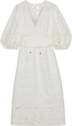 Zimmermann Juno Cutout Embroidered Linen Midi Dress