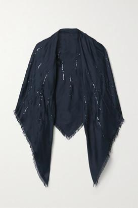 Loro Piana Fringed Sequin-embellished Silk Scarf - Midnight blue