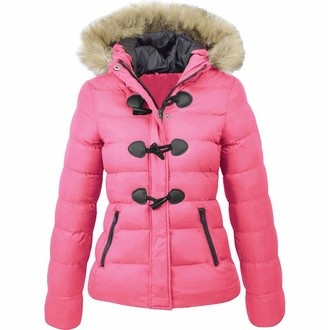 Willtop Women's Hooded Coat Thickened Maxi Down Puffa Coat with Removable Faux Fur Hood Ladies Winter Warm Windbreaker Zipped Puffer Quilted Padded Jackets Bubble Overcoat Lined Parka Coats Outwear