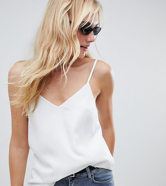 Asos Tall DESIGN Tall eco swing cami with double layer-White
