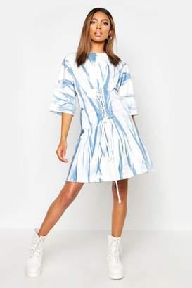 boohoo Tie Dye Corset Detail Oversized T-Shirt Dress