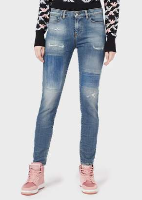 Emporio Armani J20 Super-Skinny Jeans In Worn-Effect Ripped Denim