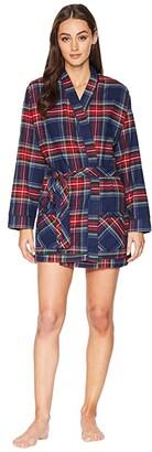 Plush Ultra Soft Flannel Robe (Navy/Red Plaid) Women's Robe