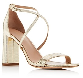 Via Spiga Women's Sabinne Snake-Embossed Block-Heel Sandals