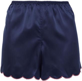 Ginia Embroidered Satin Pajama Shorts