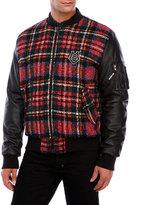 Love Moschino Plaid Mixed Media Bomber Jacket