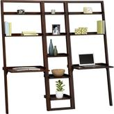 "Sloane Java 18"" Leaning Bookcase with 2 Desks"