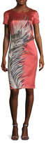 Carolina Herrera Feather Jacquard Sheath Dress