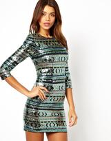 TFNC Bodycon Mini Dress with Geo-Tribal Sequins
