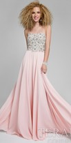 Terani Couture Strapless Crystal Embellished Floral Prom Dress