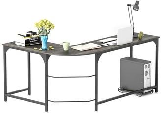 Elephance Reversible L-Shaped Desk Corner Gaming Computer Desk Office Workstation Home Study Writing Table Laptop Desk Black Oak
