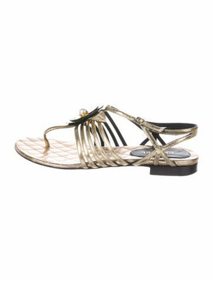 Chanel Faux Pearl Accents Leather Sandals Gold