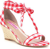 Betsey Johnson Jemi Gingham Fabric Ankle Tie Cork Wedge Sandals
